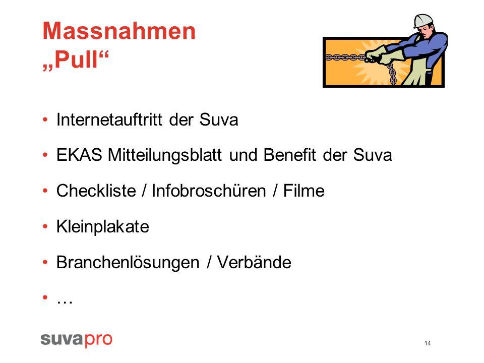 14 Massnahmen Pull Internetauftritt der Suva EKAS Mitteilungsblatt und Benefit der Suva Checkliste / Infobroschüren / Filme Kleinplakate Branchenlösun