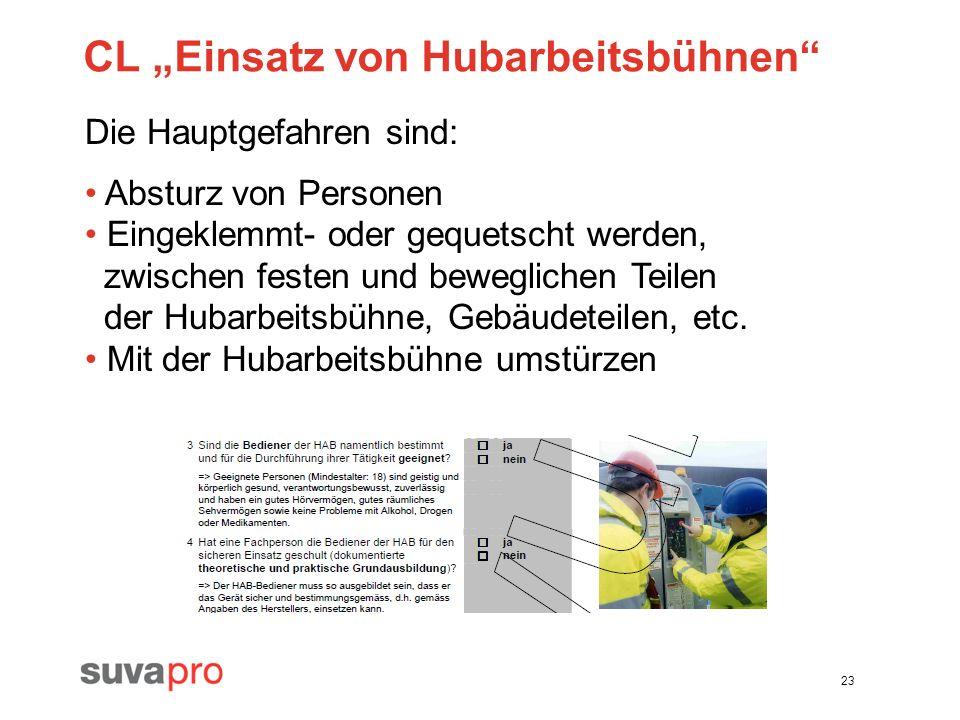 23 CL Einsatz von Hubarbeitsbühnen Die Hauptgefahren sind: Absturz von Personen Eingeklemmt- oder gequetscht werden, zwischen festen und beweglichen T