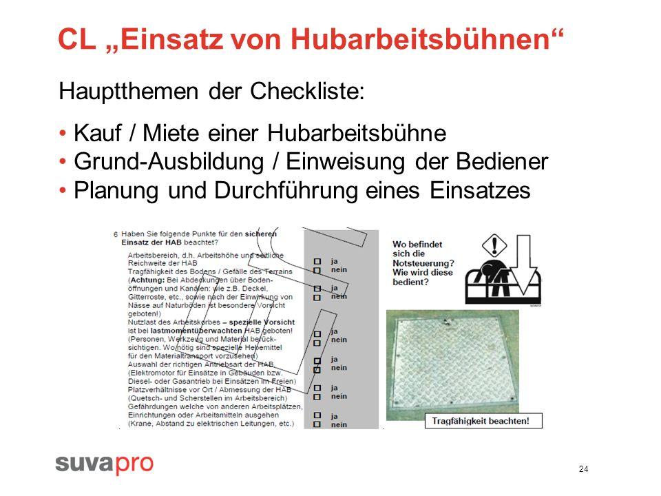 24 CL Einsatz von Hubarbeitsbühnen Hauptthemen der Checkliste: Kauf / Miete einer Hubarbeitsbühne Grund-Ausbildung / Einweisung der Bediener Planung u