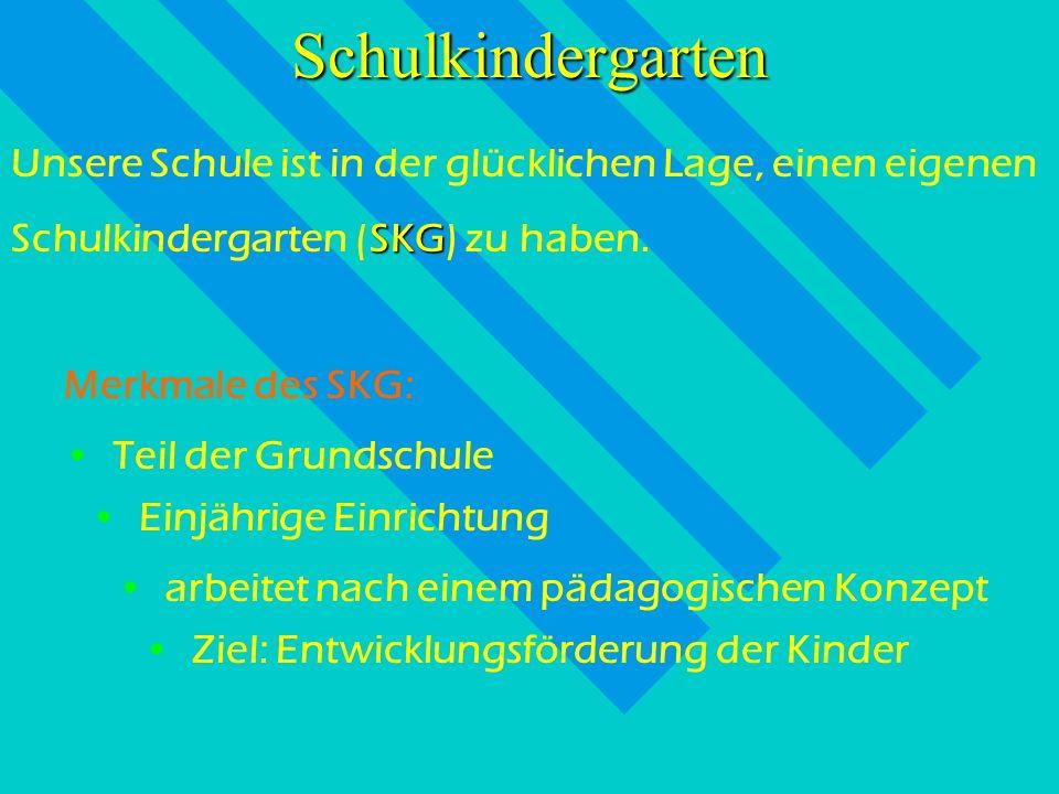 Grundschule Schulkindergarten SKG als Teil der GS