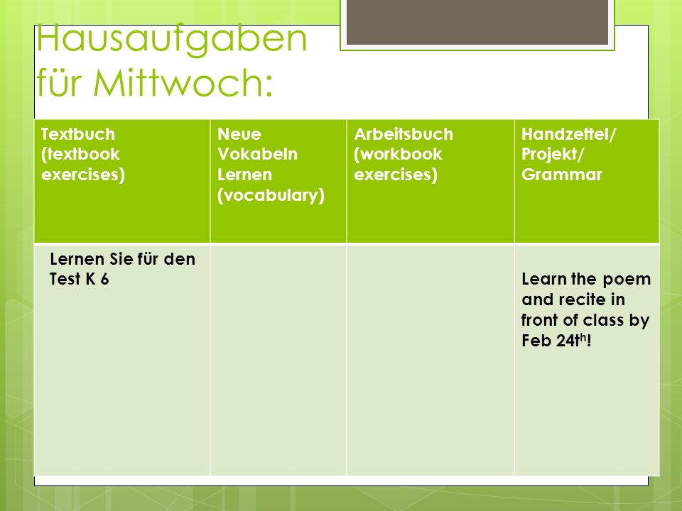 Hausaufgaben für Mittwoch: Textbuch (textbook exercises) Neue Vokabeln Lernen (vocabulary) Arbeitsbuch (workbook exercises) Handzettel/ Projekt/ Gramm