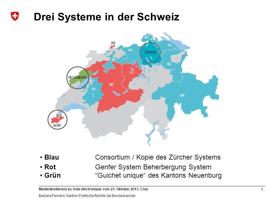 3 Medienkonferenz zu Vote électronique vom 23. Oktober 2013, Chur Barbara Perriard, Sektion Politische Rechte der Bundeskanzlei BlauConsortium / Kopie