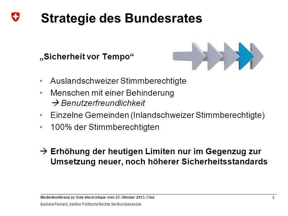 5 Medienkonferenz zu Vote électronique vom 23. Oktober 2013, Chur Barbara Perriard, Sektion Politische Rechte der Bundeskanzlei Strategie des Bundesra