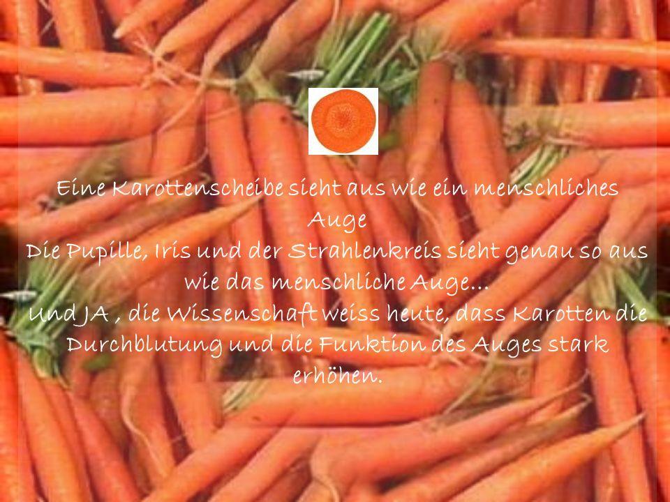 Eine Karottenscheibe sieht aus wie ein menschliches Auge Die Pupille, Iris und der Strahlenkreis sieht genau so aus wie das menschliche Auge… Und JA, die Wissenschaft weiss heute, dass Karotten die Durchblutung und die Funktion des Auges stark erhöhen.