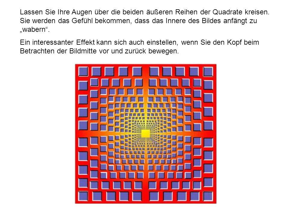 Lassen Sie Ihre Augen über die beiden äußeren Reihen der Quadrate kreisen. Sie werden das Gefühl bekommen, dass das Innere des Bildes anfängt zu waber