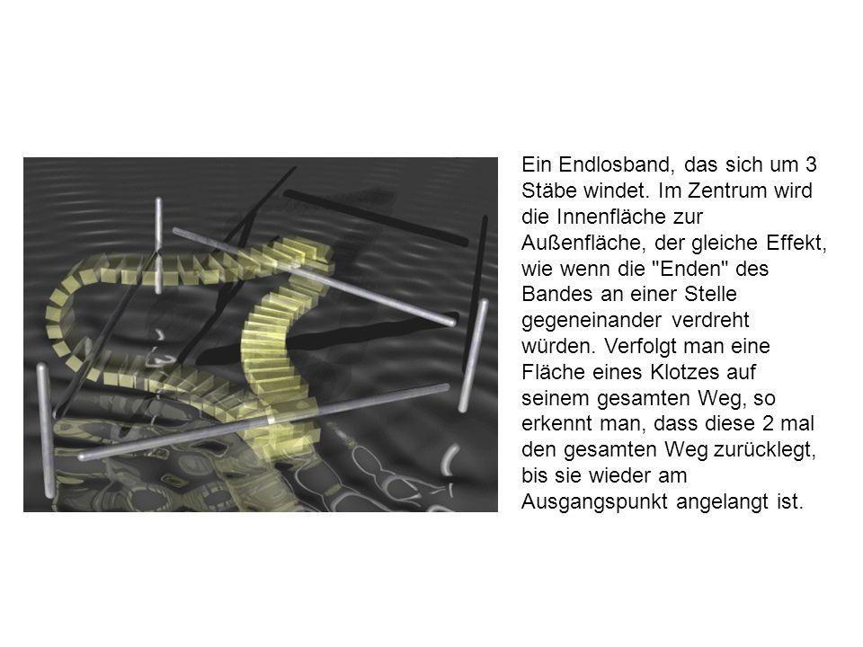 Ein Endlosband, das sich um 3 Stäbe windet. Im Zentrum wird die Innenfläche zur Außenfläche, der gleiche Effekt, wie wenn die