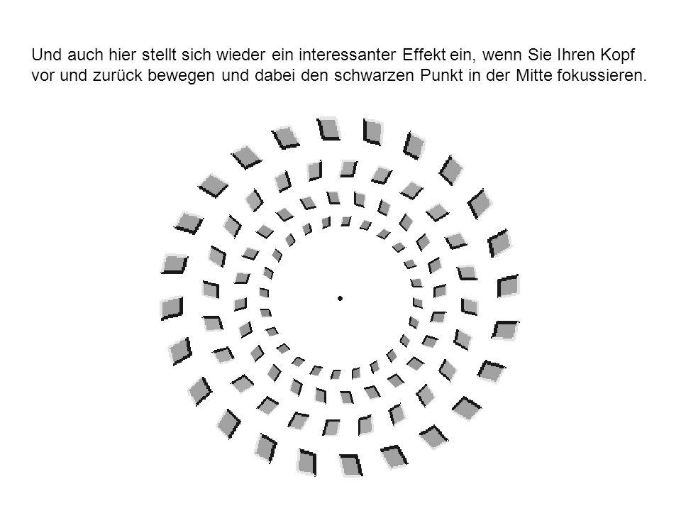 Und auch hier stellt sich wieder ein interessanter Effekt ein, wenn Sie Ihren Kopf vor und zurück bewegen und dabei den schwarzen Punkt in der Mitte f