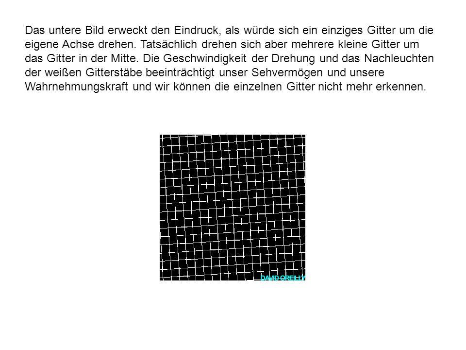 Das untere Bild erweckt den Eindruck, als würde sich ein einziges Gitter um die eigene Achse drehen. Tatsächlich drehen sich aber mehrere kleine Gitte