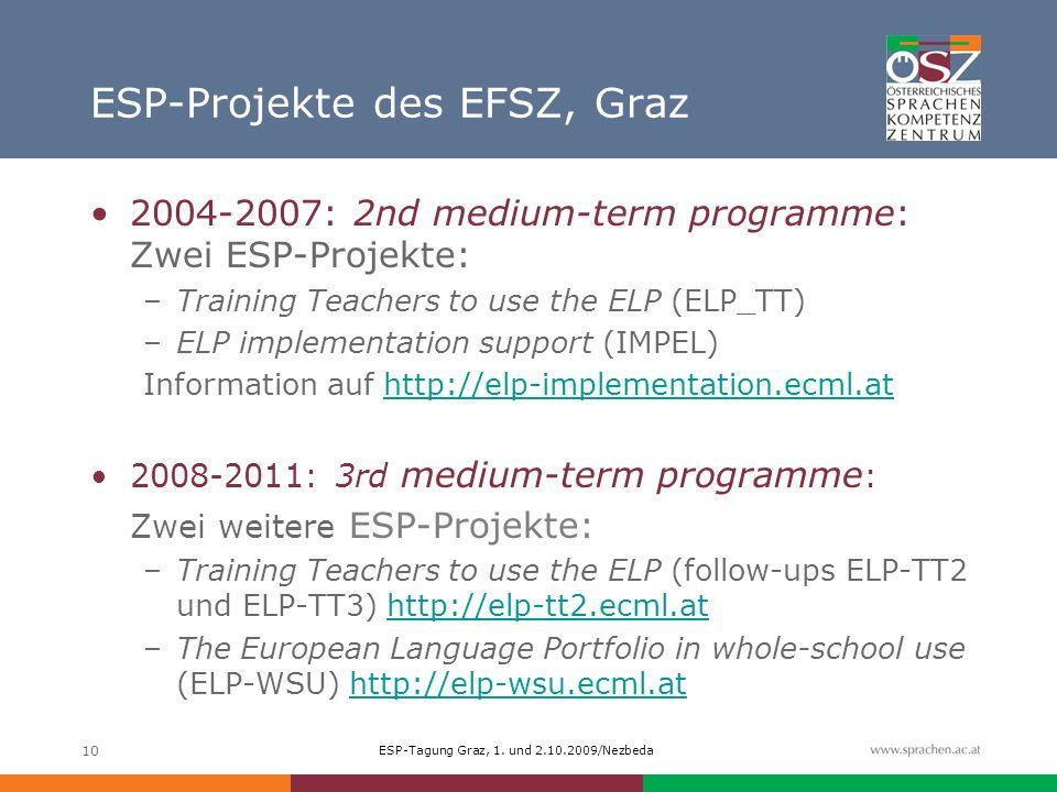 ESP-Tagung Graz, 1. und 2.10.2009/Nezbeda 10 ESP-Projekte des EFSZ, Graz 2004-2007: 2nd medium-term programme: Zwei ESP-Projekte: –Training Teachers t