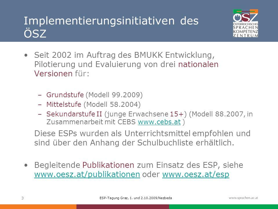 ESP-Tagung Graz, 1. und 2.10.2009/Nezbeda 3 Implementierungsinitiativen des ÖSZ Seit 2002 im Auftrag des BMUKK Entwicklung, Pilotierung und Evaluierun