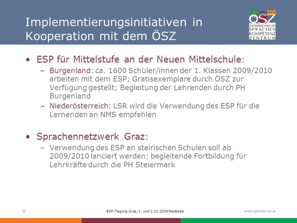 ESP-Tagung Graz, 1. und 2.10.2009/Nezbeda 6 Implementierungsinitiativen in Kooperation mit dem ÖSZ ESP für Mittelstufe an der Neuen Mittelschule: –Bur
