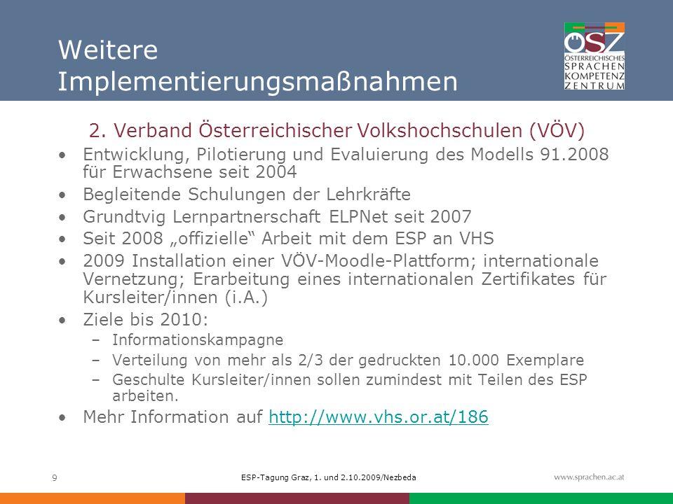 ESP-Tagung Graz, 1. und 2.10.2009/Nezbeda 9 Weitere Implementierungsmaßnahmen 2. Verband Österreichischer Volkshochschulen (VÖV) Entwicklung, Pilotier