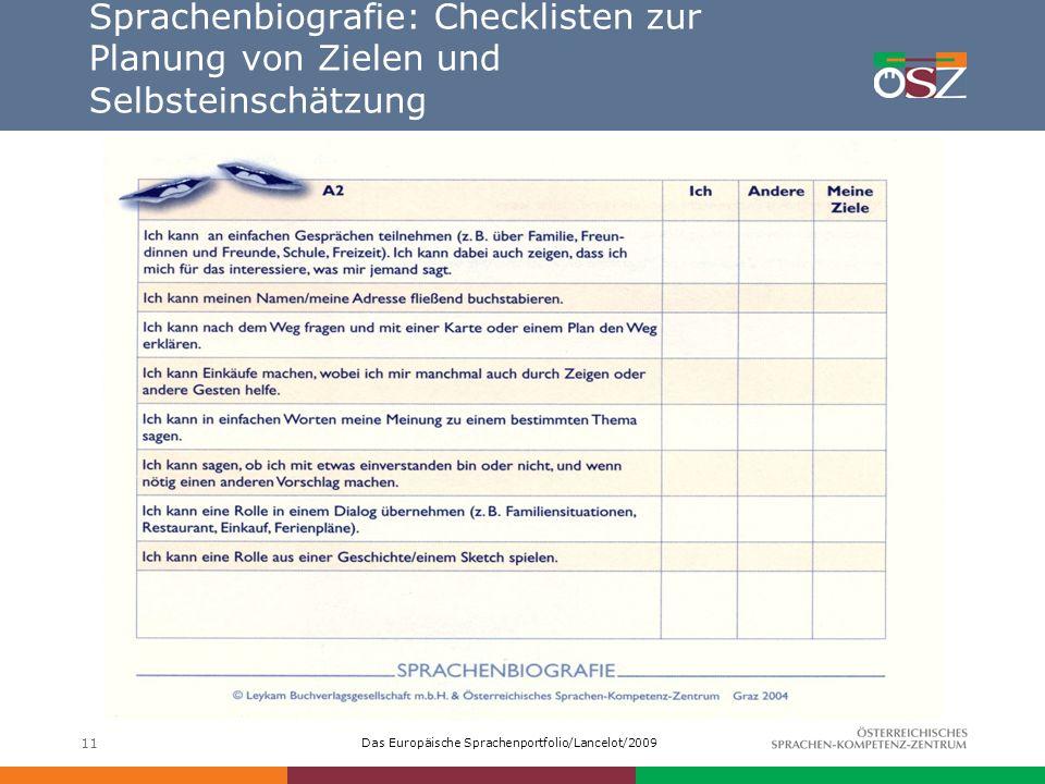 Das Europäische Sprachenportfolio/Lancelot/2009 11 Sprachenbiografie: Checklisten zur Planung von Zielen und Selbsteinschätzung