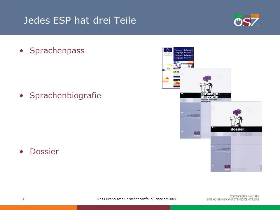 Das Europäische Sprachenportfolio/Lancelot/2009 8 Jedes ESP hat drei Teile Sprachenpass Sprachenbiografie Dossier