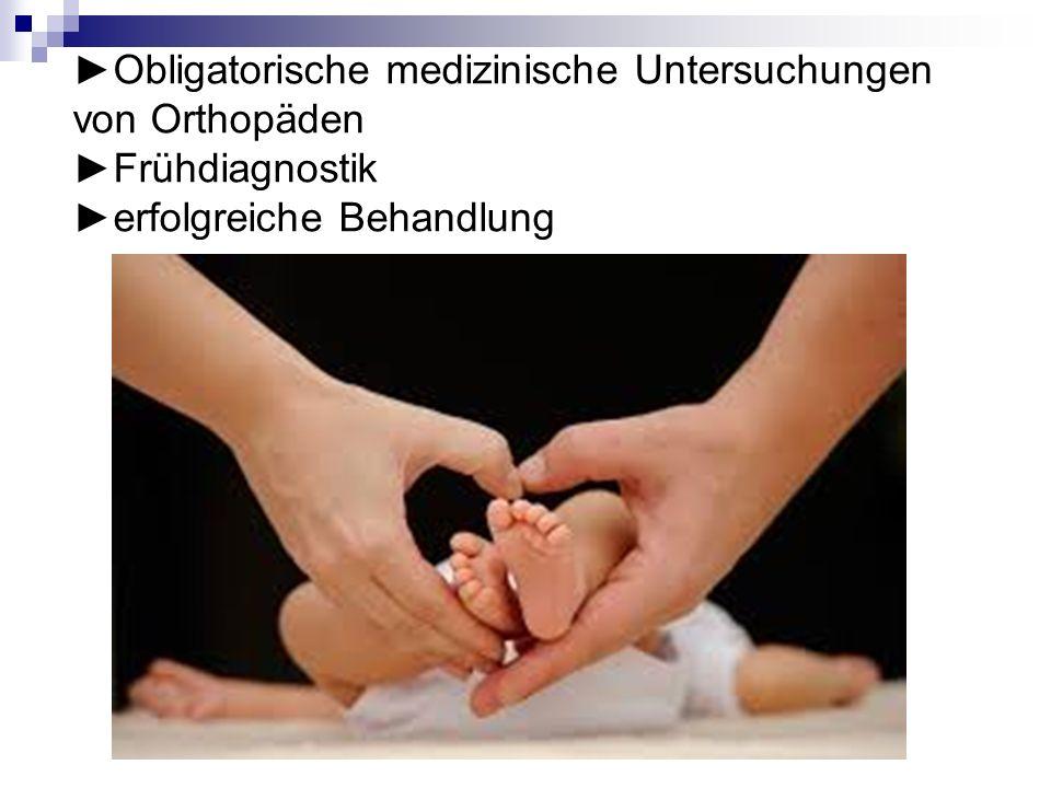 Obligatorische medizinische Untersuchungen von Orthopäden Frühdiagnostik erfolgreiche Behandlung