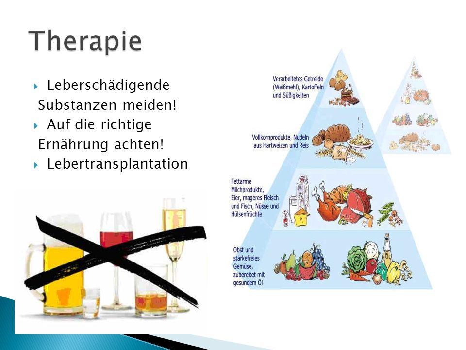 Leberschädigende Substanzen meiden! Auf die richtige Ernährung achten! Lebertransplantation