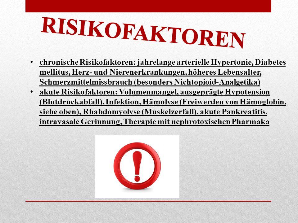 RISIKOFAKTOREN chronische Risikofaktoren: jahrelange arterielle Hypertonie, Diabetes mellitus, Herz- und Nierenerkrankungen, höheres Lebensalter, Schm