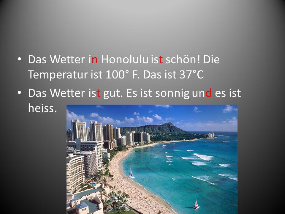 Das Wetter in Honolulu ist schön! Die Temperatur ist 100° F. Das ist 37°C Das Wetter ist gut. Es ist sonnig und es ist heiss.
