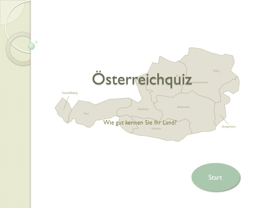 Frage 1 Welche ist die Hauptstadt Österreichs? Wien Graz Linz St. Pölten