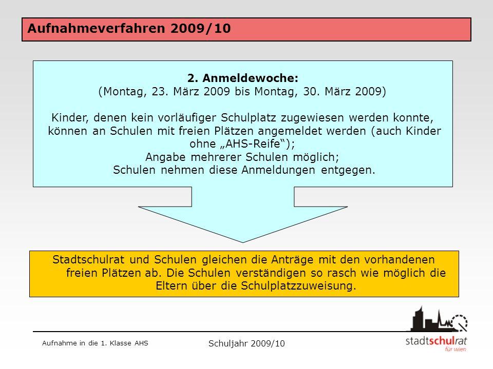 Schuljahr 2009/10 Aufnahme in die 1.