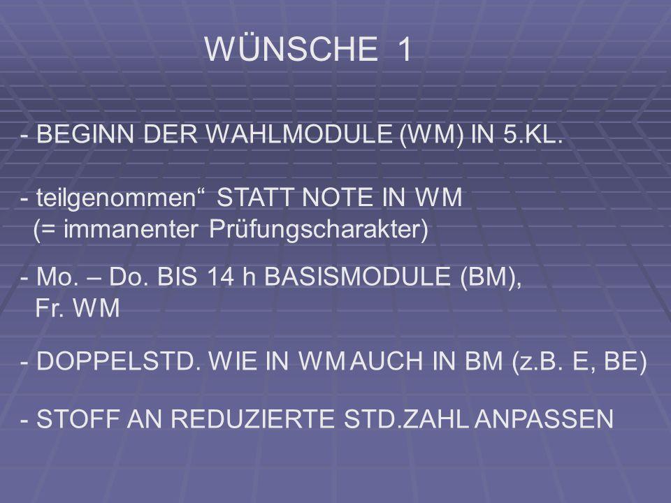 WÜNSCHE 1 - BEGINN DER WAHLMODULE (WM) IN 5.KL. - teilgenommen STATT NOTE IN WM (= immanenter Prüfungscharakter) - Mo. – Do. BIS 14 h BASISMODULE (BM)
