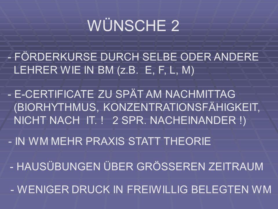 WÜNSCHE 2 - FÖRDERKURSE DURCH SELBE ODER ANDERE LEHRER WIE IN BM (z.B. E, F, L, M) - E-CERTIFICATE ZU SPÄT AM NACHMITTAG (BIORHYTHMUS, KONZENTRATIONSF