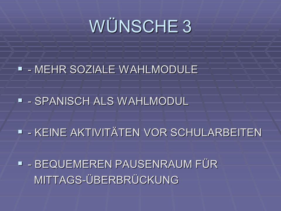 WÜNSCHE 3 - MEHR SOZIALE WAHLMODULE - MEHR SOZIALE WAHLMODULE - SPANISCH ALS WAHLMODUL - SPANISCH ALS WAHLMODUL - KEINE AKTIVITÄTEN VOR SCHULARBEITEN