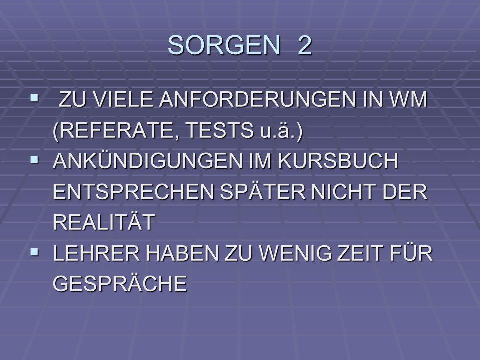 SORGEN 2 ZU VIELE ANFORDERUNGEN IN WM ZU VIELE ANFORDERUNGEN IN WM (REFERATE, TESTS u.ä.) (REFERATE, TESTS u.ä.) ANKÜNDIGUNGEN IM KURSBUCH ANKÜNDIGUNG