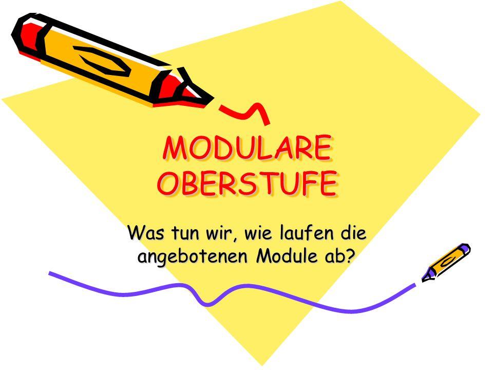 MODULARE OBERSTUFE Was tun wir, wie laufen die angebotenen Module ab