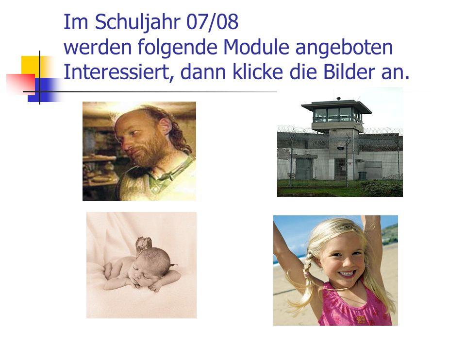 Im Schuljahr 07/08 werden folgende Module angeboten Interessiert, dann klicke die Bilder an.