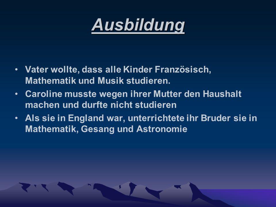 Wissenschaftliche Leistungen 01.August.1786 Entdeckung eines Kometen Fand außerdem 13 Deep-Sky- Objekte ( Gasnebel) 1787: Ernennung zur Assistenten des königlichen Hofastronoms mit wenig Gehalt, obwohl sie vorher schon hart arbeitete, aber ohne Gehalt.