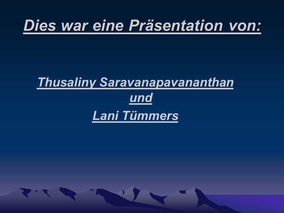 Dies war eine Präsentation von: Thusaliny Saravanapavananthan und Lani Tümmers