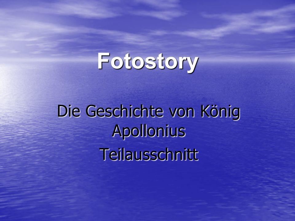 Vorgeschichte Vorgeschichte Der arme Mann auf der Insel schickt Apollonius in die Stadt, um jemanden zu finden, der sich um ihn kümmert Der arme Mann auf der Insel schickt Apollonius in die Stadt, um jemanden zu finden, der sich um ihn kümmert Er ging in die Stadt auf einen Sportplatz, wo er von dem König dieser Stadt erkannt wurde Er ging in die Stadt auf einen Sportplatz, wo er von dem König dieser Stadt erkannt wurde Apollonius rieb den alten König mit Öl ein sodass er wie jung aussah Apollonius rieb den alten König mit Öl ein sodass er wie jung aussah Der König lud Apollonius zu sich ein.