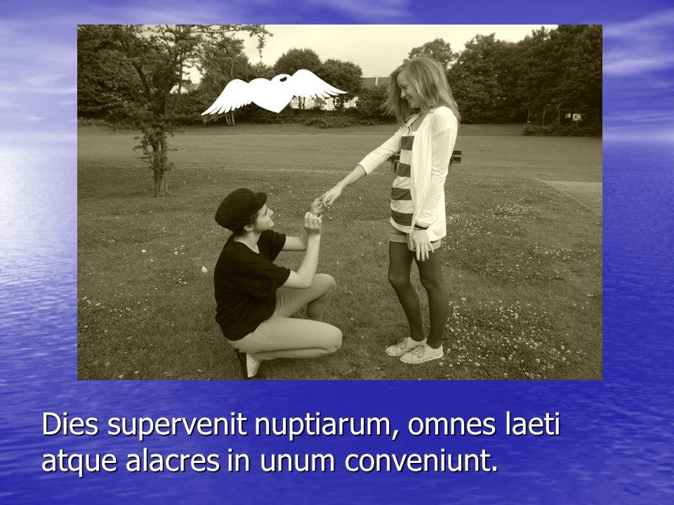 Dies supervenit nuptiarum, omnes laeti atque alacres in unum conveniunt.