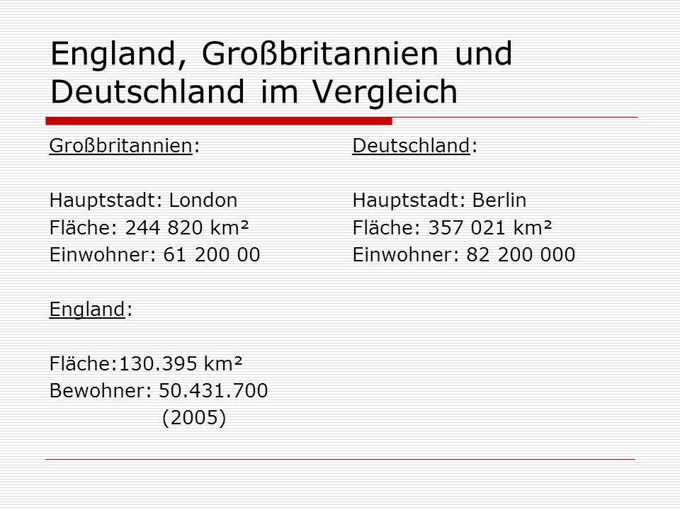 England, Großbritannien und Deutschland im Vergleich Großbritannien: Hauptstadt: London Fläche: 244 820 km² Einwohner: 61 200 00 England: Fläche:130.395 km² Bewohner: 50.431.700 (2005) Deutschland: Hauptstadt: Berlin Fläche: 357 021 km² Einwohner: 82 200 000