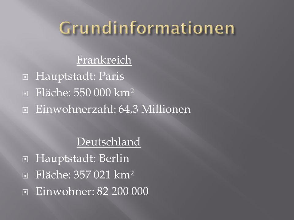 Frankreich Hauptstadt: Paris Fläche: 550 000 km² Einwohnerzahl: 64,3 Millionen Deutschland Hauptstadt: Berlin Fläche: 357 021 km² Einwohner: 82 200 00