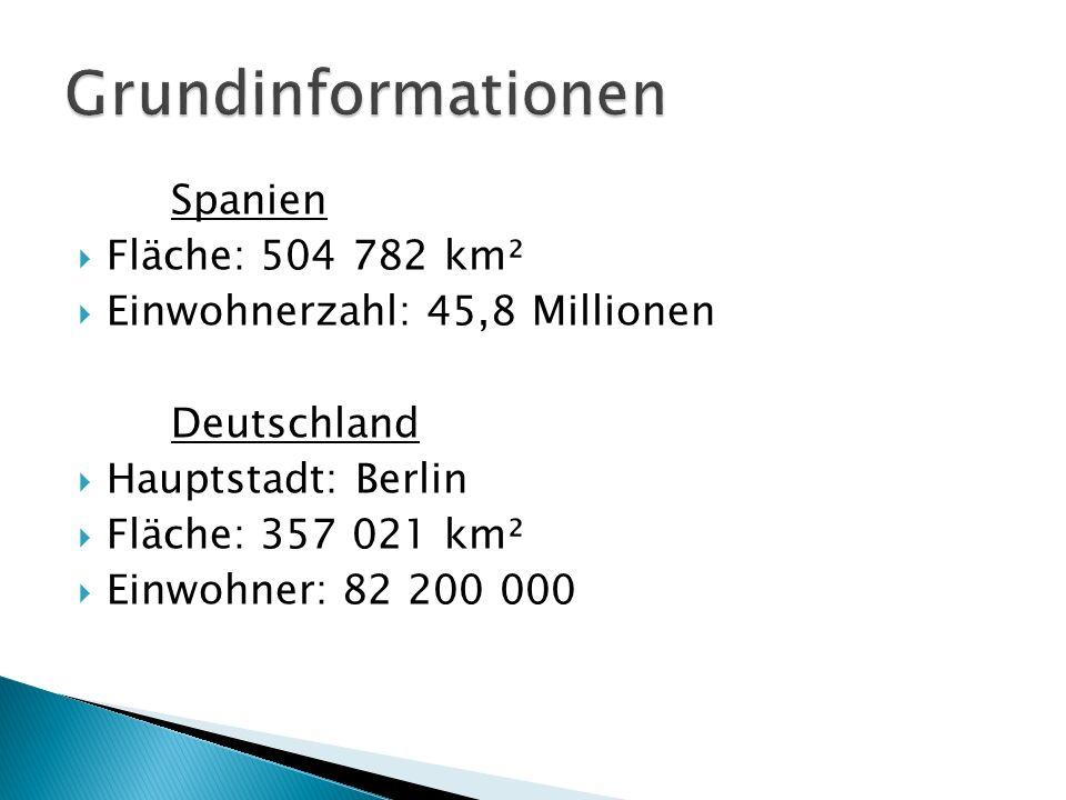 Spanien Fläche: 504 782 km² Einwohnerzahl: 45,8 Millionen Deutschland Hauptstadt: Berlin Fläche: 357 021 km² Einwohner: 82 200 000