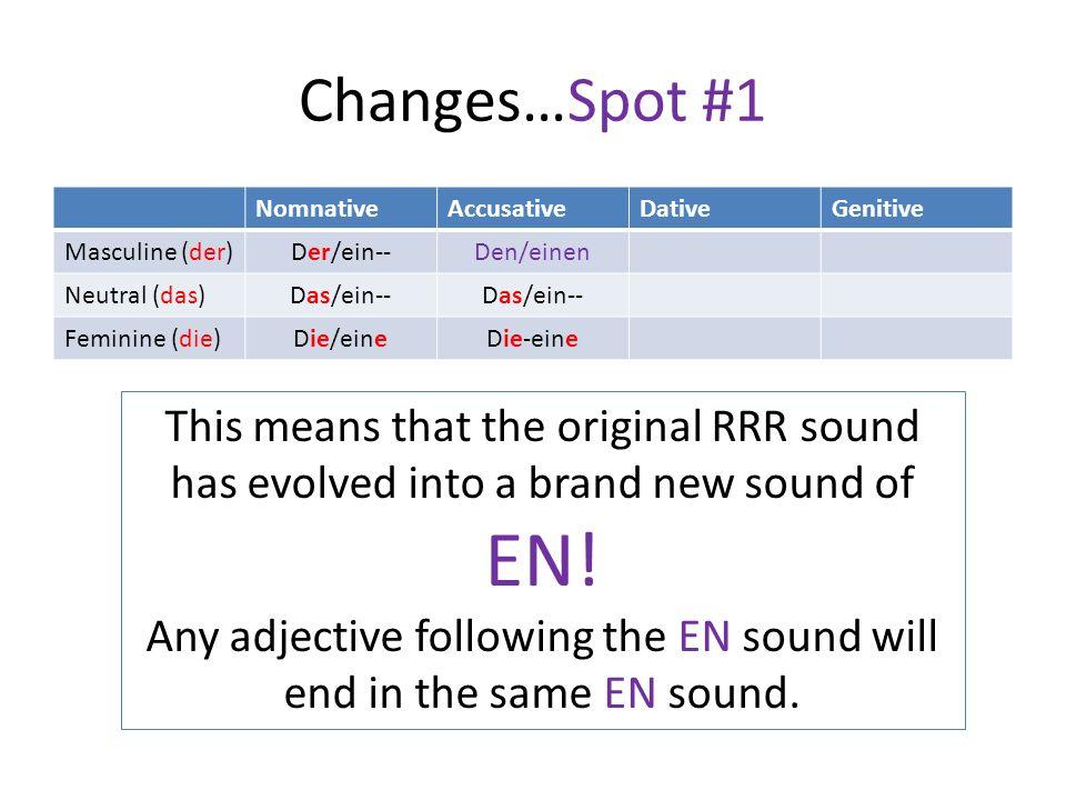 Changes…Spot #1 NomnativeAccusativeDativeGenitive Masculine (der) Der/ein--Den/einen Neutral (das) Das/ein-- Feminine (die) Die/eineDie-eine This mean