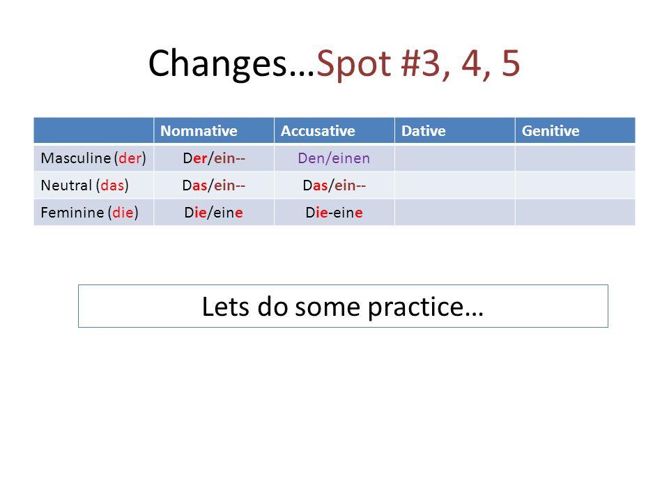 Changes…Spot #3, 4, 5 NomnativeAccusativeDativeGenitive Masculine (der) Der/ein--Den/einen Neutral (das) Das/ein-- Feminine (die) Die/eineDie-eine Lets do some practice…