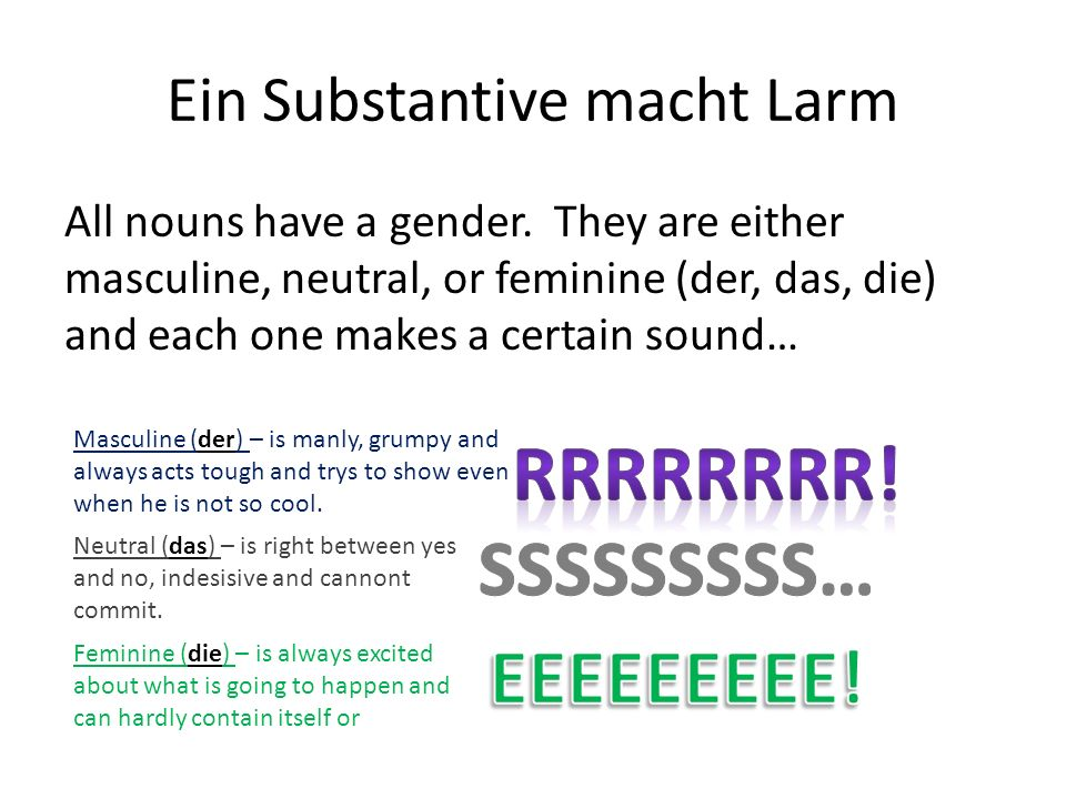 Chart of Change… NomnativeAccusativeDativeGenitive Masculine (der) Der/ein--Den/einen Neutral (das) Das/ein-- Feminine (die) Die/eineDie-eine Every article (definite and indefinite) make these sounds, except in four spots… There is the RRR sound for masculine… There is the SSS sound for neutral… There is the EEE sound for feminine.