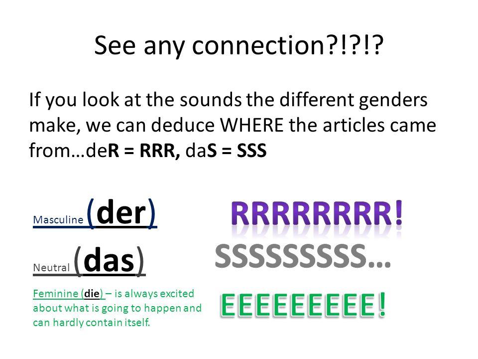 Changes…Spot #1 NomnativeAccusativeDativeGenitive Masculine (der) Der/ein--Den/einen Neutral (das) Das/ein-- Feminine (die) Die/eineDie-eine This means that the original RRR sound has evolved into a brand new sound of EN.