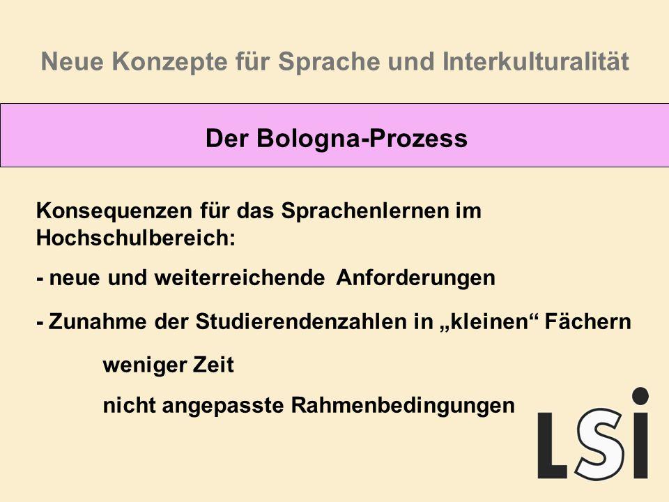 Neue Konzepte für Sprache und Interkulturalität Der Bologna-Prozess Konsequenzen für das Sprachenlernen im Hochschulbereich: - neue und weiterreichende Anforderungen - Zunahme der Studierendenzahlen in kleinen Fächern weniger Zeit nicht angepasste Rahmenbedingungen