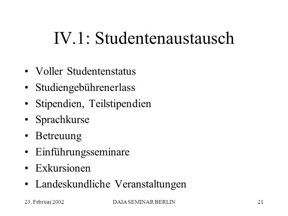23. Februar 2002DAIA SEMINAR BERLIN21 IV.1: Studentenaustausch Voller Studentenstatus Studiengebührenerlass Stipendien, Teilstipendien Sprachkurse Bet