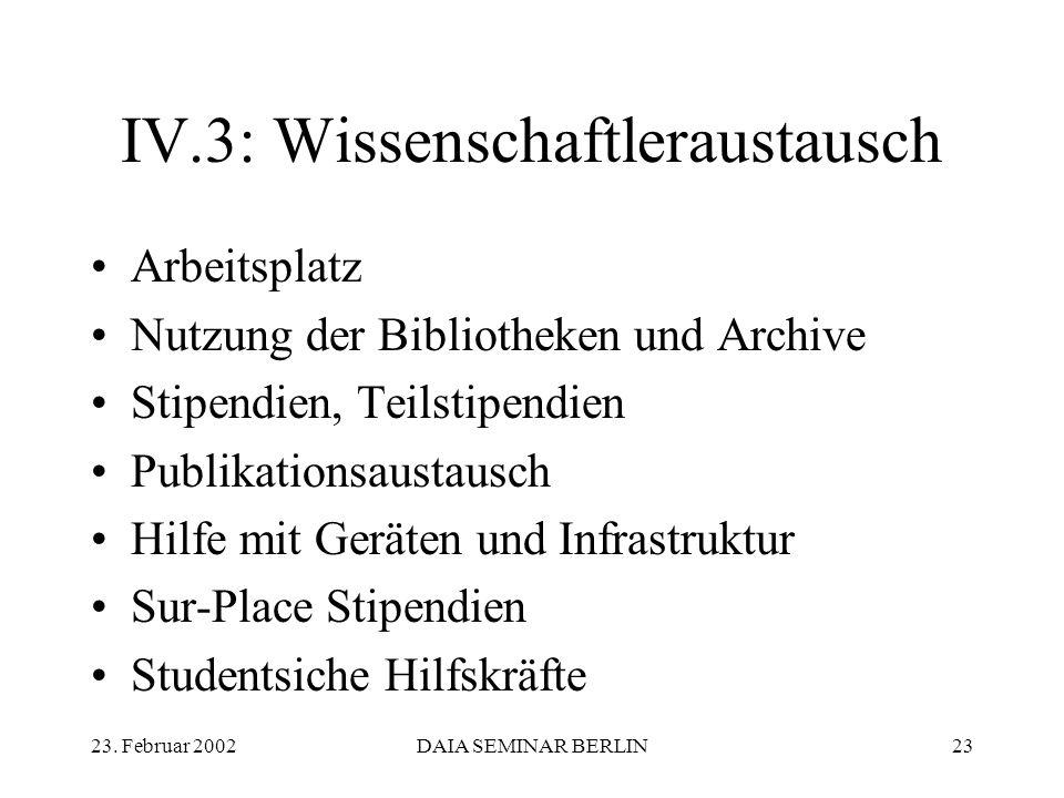 23. Februar 2002DAIA SEMINAR BERLIN23 IV.3: Wissenschaftleraustausch Arbeitsplatz Nutzung der Bibliotheken und Archive Stipendien, Teilstipendien Publ