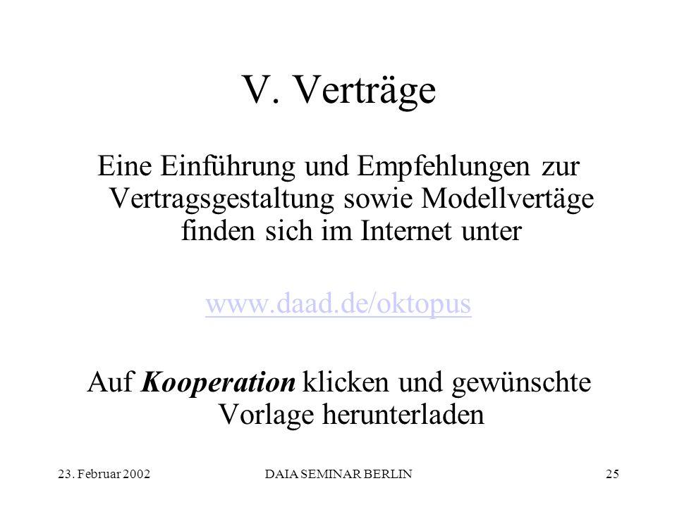 23. Februar 2002DAIA SEMINAR BERLIN25 V.