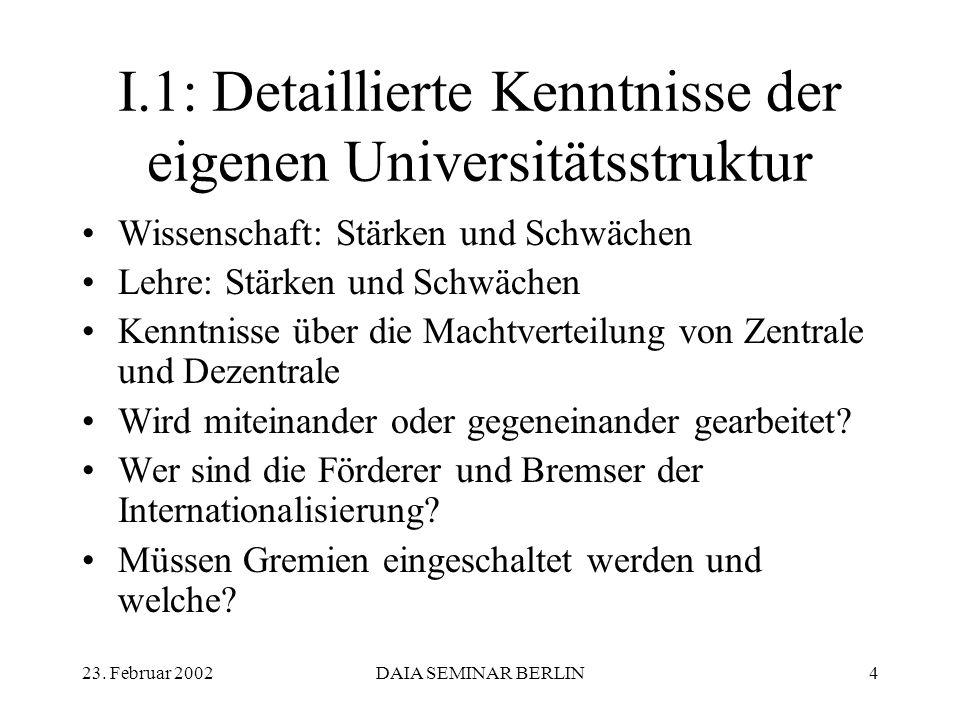 23. Februar 2002DAIA SEMINAR BERLIN4 I.1: Detaillierte Kenntnisse der eigenen Universitätsstruktur Wissenschaft: Stärken und Schwächen Lehre: Stärken