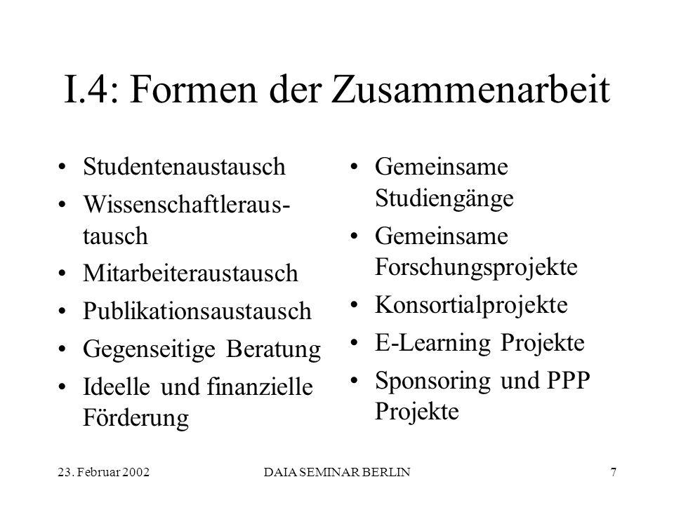 23. Februar 2002DAIA SEMINAR BERLIN7 I.4: Formen der Zusammenarbeit Studentenaustausch Wissenschaftleraus- tausch Mitarbeiteraustausch Publikationsaus