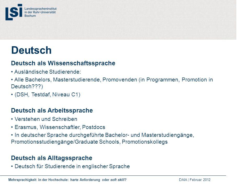 Deutsch Deutsch als Wissenschaftssprache Ausländische Studierende: Alle Bachelors, Masterstudierende, Promovenden (in Programmen, Promotion in Deutsch