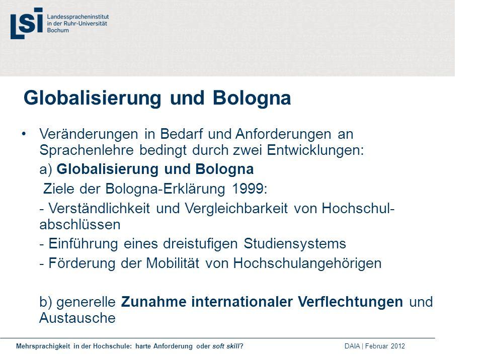 Globalisierung und Bologna Veränderungen in Bedarf und Anforderungen an Sprachenlehre bedingt durch zwei Entwicklungen: a) Globalisierung und Bologna