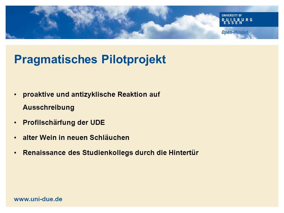 Pilotprojekte in NRW RWTH Aachen Ruhr Universität Bochum Universität Duisburg-Essen Westfälische Hochschule Gelsenkirchen Bocholt Recklinghausen Universität zu Köln www.uni-due.de